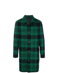 Dark Green Plaid Overcoat