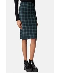 Topshop Black Watch Print Tube Skirt Green 8