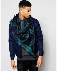 7x Blanket Scarf In Green Plaid