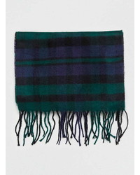 Topman Black And Green Check Scarf