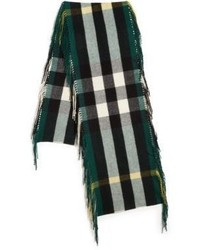 Burberry Fringed Deep Green Check Cashmere Scarf