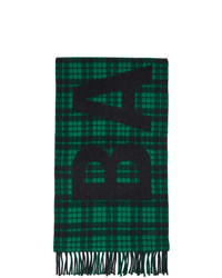Balenciaga Green And Black Tartan Giant Logo Scarf