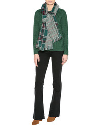 KW Green Plaid Check Scarf