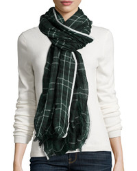 Sheer plaid fringe scarf green medium 385383