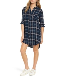 Dark Green Plaid Shirtdress