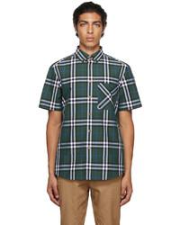 Burberry Green Poplin Check Short Sleeve Shirt