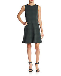 Rag and Bone Gayle Leather Trimmed Plaid Fit  Flare Dress