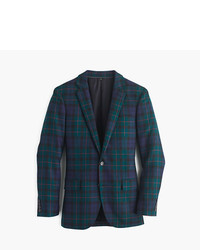Dark Green Plaid Wool Blazer