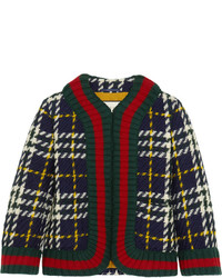 Gucci Cropped Plaid Wool Jacket Emerald