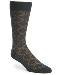 Pantherella Vintage Collection Strathmore Diagonal Check Merino Wool Blend Socks
