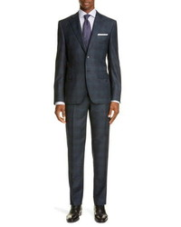 Canali Sienna Classic Fit Shadow Plaid Wool Suit
