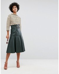 Asos Leather Look Midi Skirt With Belt