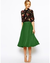 Dark Green Pleated Midi Skirts for Women   Women's Fashion