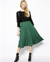 Dark Green Pleated Midi Skirts for Women | Women's Fashion