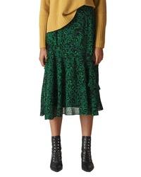 1588d3939 Women's Navy Floral Crew-neck T-shirt, Dark Green Pleated Midi Skirt ...