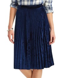 Chaps Metallic Faux Suede Pleated Midi Skirt
