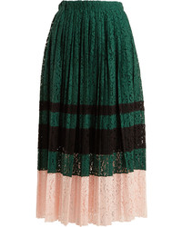 No.21 No 21 Pleated Lace Midi Skirt