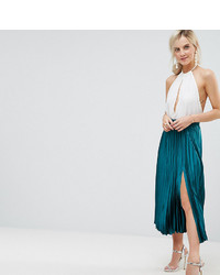 Asos Petite Petite Satin Pleated Midi Skirt With Splices
