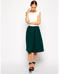 Dark Green Pleated Midi Skirts for Women | Women's Fashion