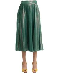 Gucci Plisse Silk Voile Lam Midi Skirt