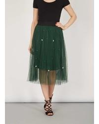 Tenki Green Bead Net Midi Skirt