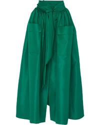 Dark Green Pleated Satin Midi Skirt