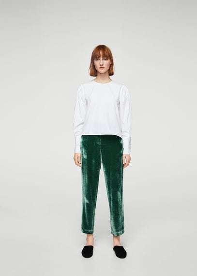 Mango Velvet Pleated Trousers