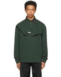 Feng Chen Wang Green Double Collar Long Sleeve Polo