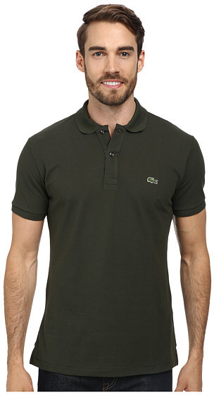 dd6bd9be8 ... Green Polos Lacoste Short Sleeve Slim Fit Pique Polo Shirt ...