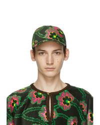 Gucci Black Ken Scott Edition Velvet Floral Cap