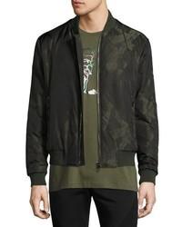 Dark Green Print Bomber Jacket