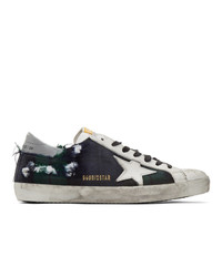 Golden Goose Green And Black Check Sneakers