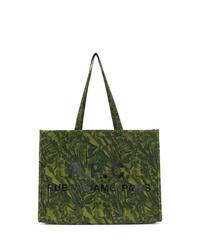 Dark Green Print Canvas Tote Bag