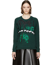 Kenzo Green Embroidered Bamboo Tiger Sweatshirt