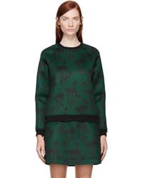 Kenzo Green Neoprene Bamboo Tiger Sweatshirt