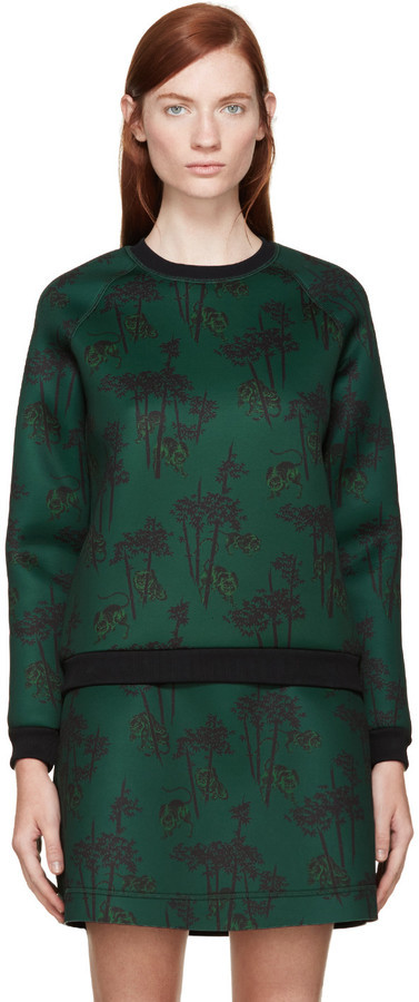 e5c1c46a005 $395, Kenzo Green Neoprene Bamboo Tiger Sweatshirt