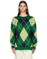 Kenzo Green Wool Argyle Sweater
