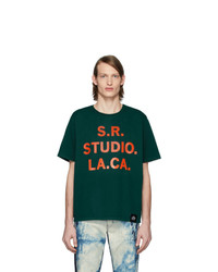 S.R. STUDIO. LA. CA. Green Srs Logo And Vampire Sunrise Basic T Shirt