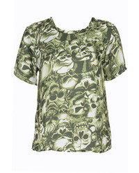 Romwe Green Skull Print Short Sleeved Chiffon T Shirt
