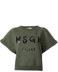 MSGM Logo Printed Crop Top
