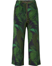 Moncler Cropped Printed Silk Straight Leg Pants