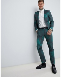 Twisted Tailor Super Skinny Suit Trousers With Leaf Print