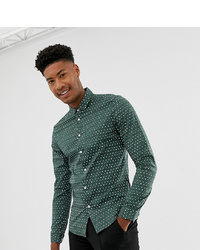 ASOS DESIGN Tall Stretch Slim Smart Shirt With Diarmond Print In Green