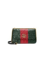 Gucci Web Straw Small Shoulder Bag