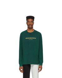 Alexander Wang Green Bleached Logo Long Sleeve T Shirt