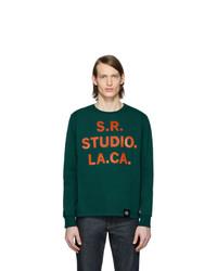 S.R. STUDIO. LA. CA. Green Srs Logo And Vampire Sunrise Basic Long Sleeve T Shirt