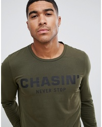 Chasin' Macon Logo Long Sleeve T Shirt Khaki