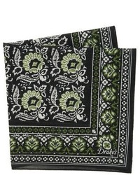 Drakes Drakes Floral Tile Print Handkerchief
