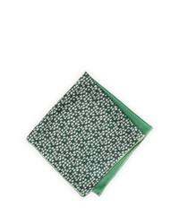 Neiman Marcus Flowerdotted Silk Pocket Square Green