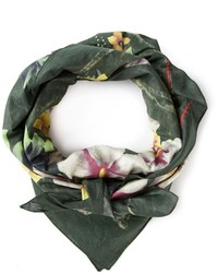 Dark Green Print Scarf